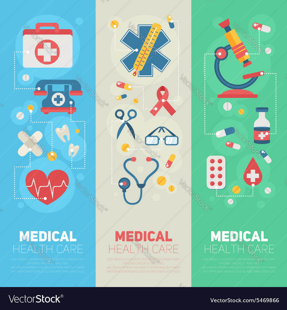 Medical Banners Templates In Trendy Flat Style Throughout Medical Banner Template