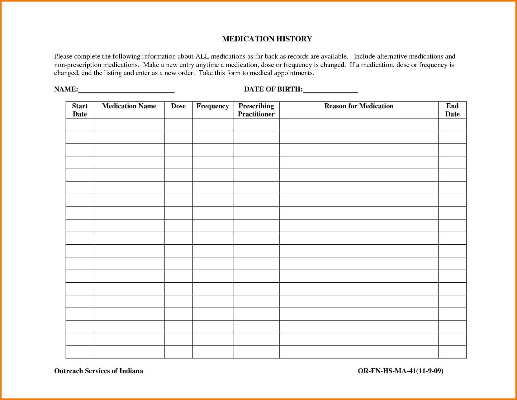 Medication List Template | Authorization Letter Pdf Within Blank Medication List Templates