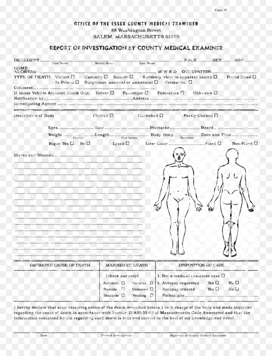 Medicine Cartoon Throughout Autopsy Report Template