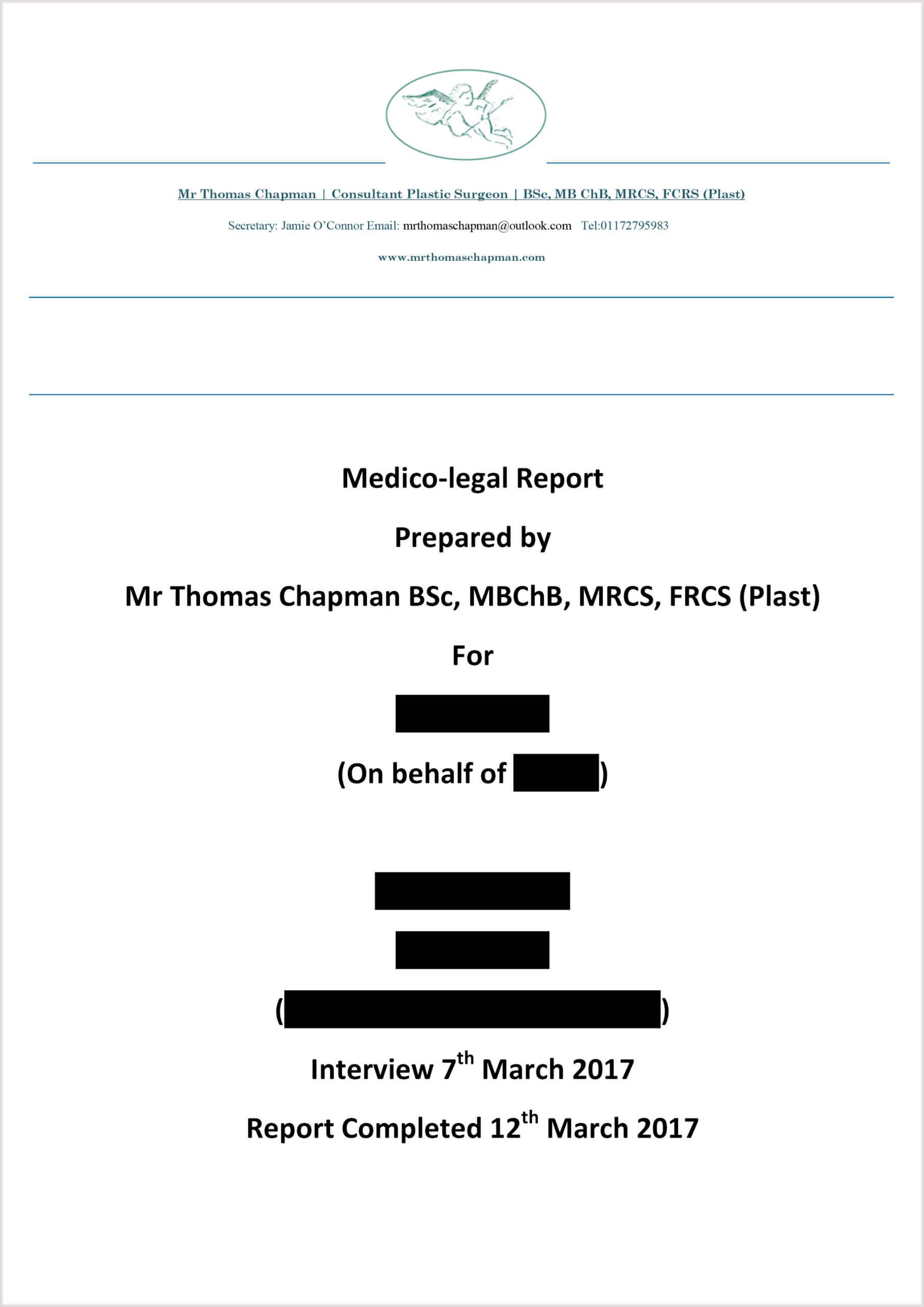 Medicolegal Reporting - Mr Thomas Chapman Pertaining To Medical Legal Report Template