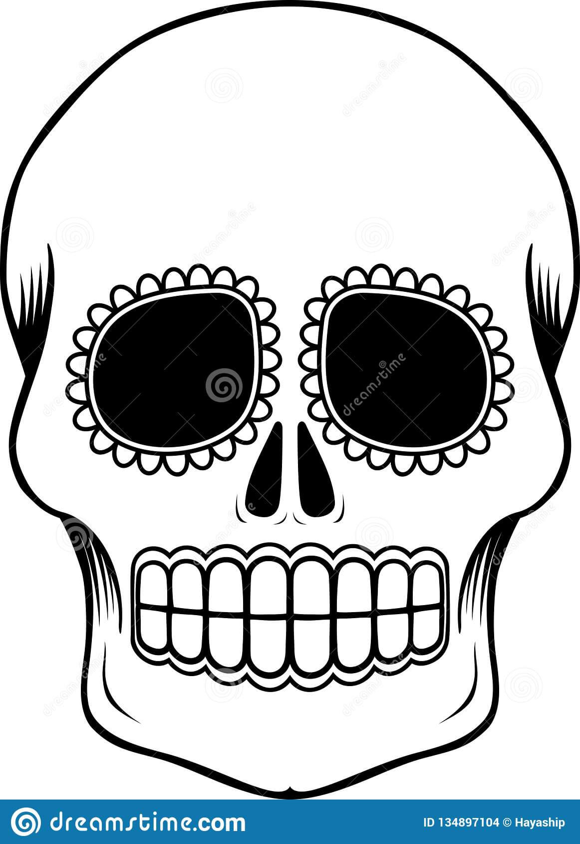 Mexican Sugar Skull Template Stock Vector - Illustration Of With Blank Sugar Skull Template