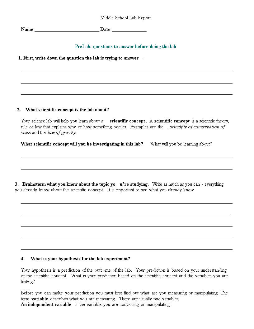 Middle School Lab Report | Templates At Intended For Lab Report Template Middle School