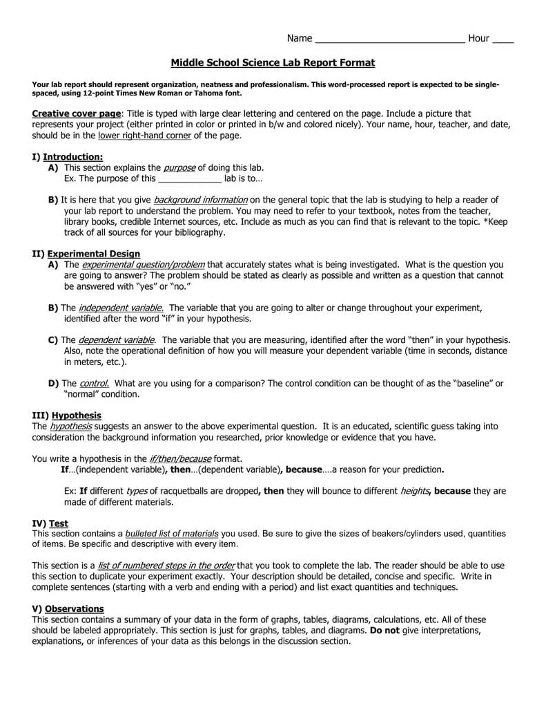 Middle School Science Lab Report Format Throughout Science Lab Report Template