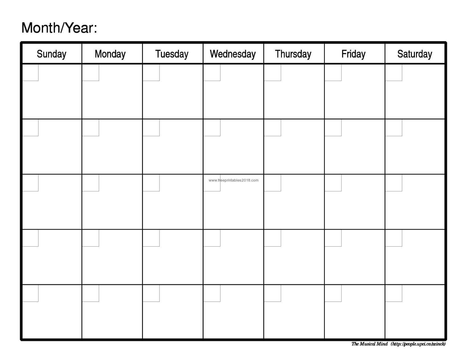 Month Templates - Tunu.redmini.co In Blank One Month Calendar Template