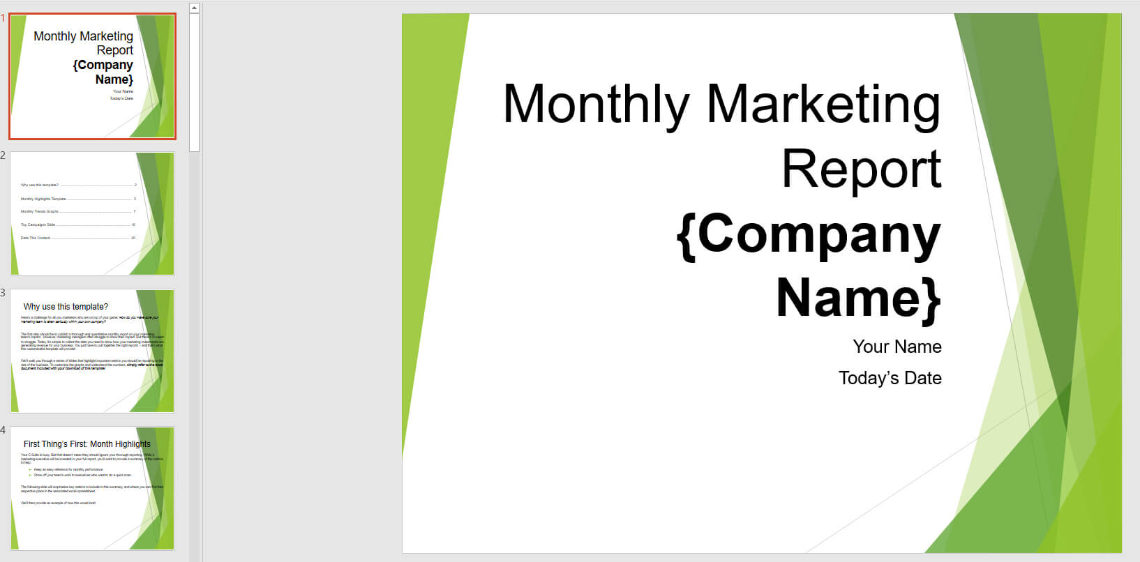 Monthly Marketing Reporting Powerpoint Template   Templates Regarding Monthly Report Template Ppt