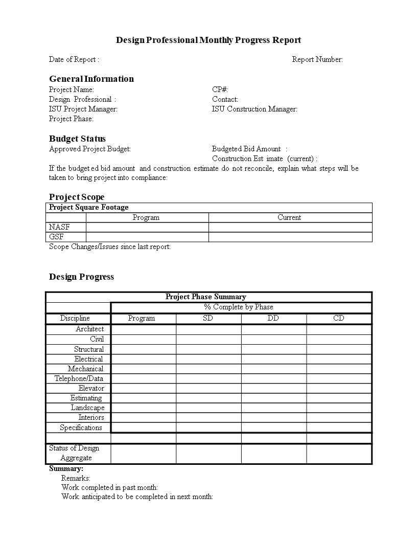 Monthly Progress Report In Word | Templates At For Monthly Progress Report Template