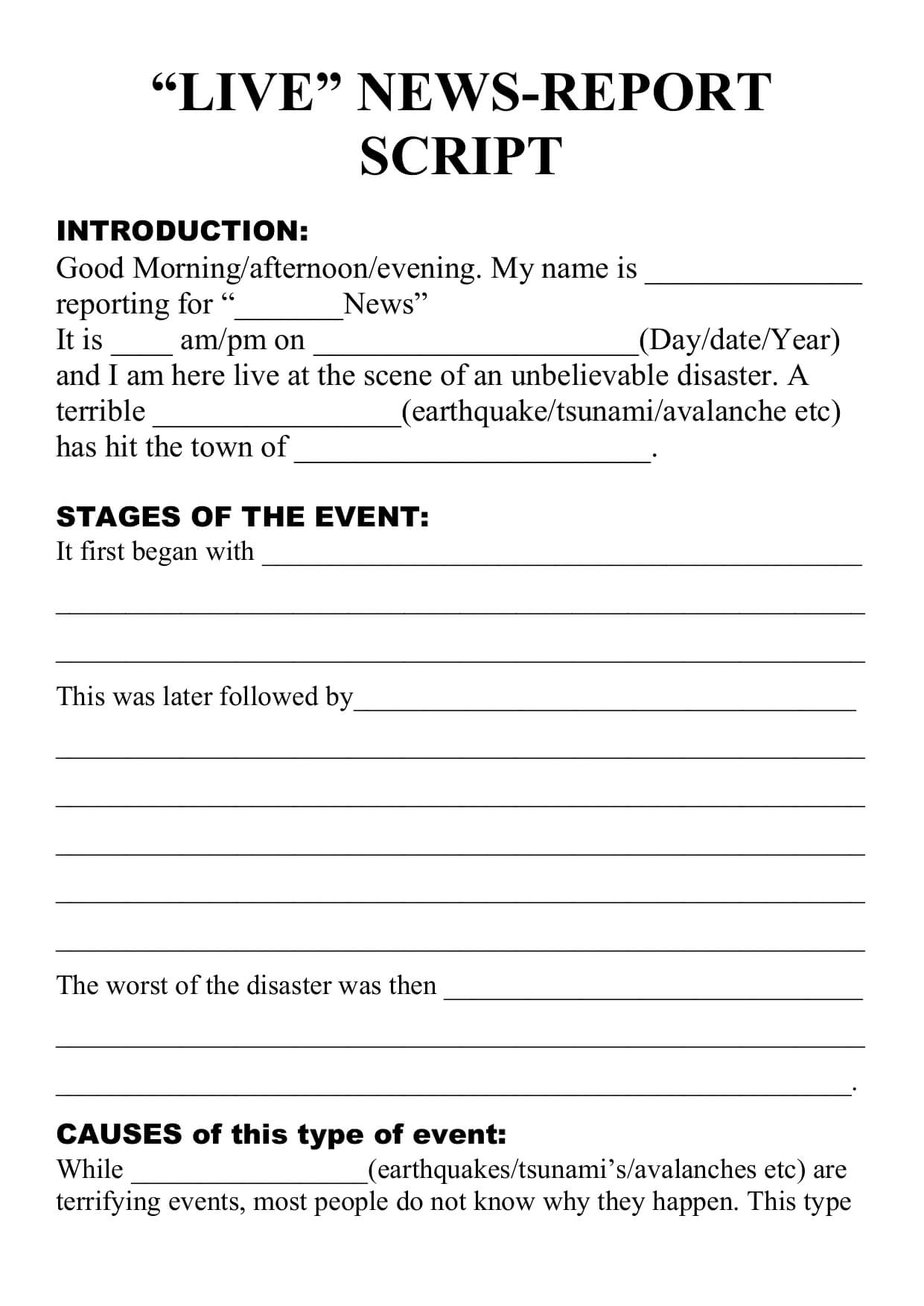 Natural Disaster - Live Newsreport Script Template Throughout News Report Template