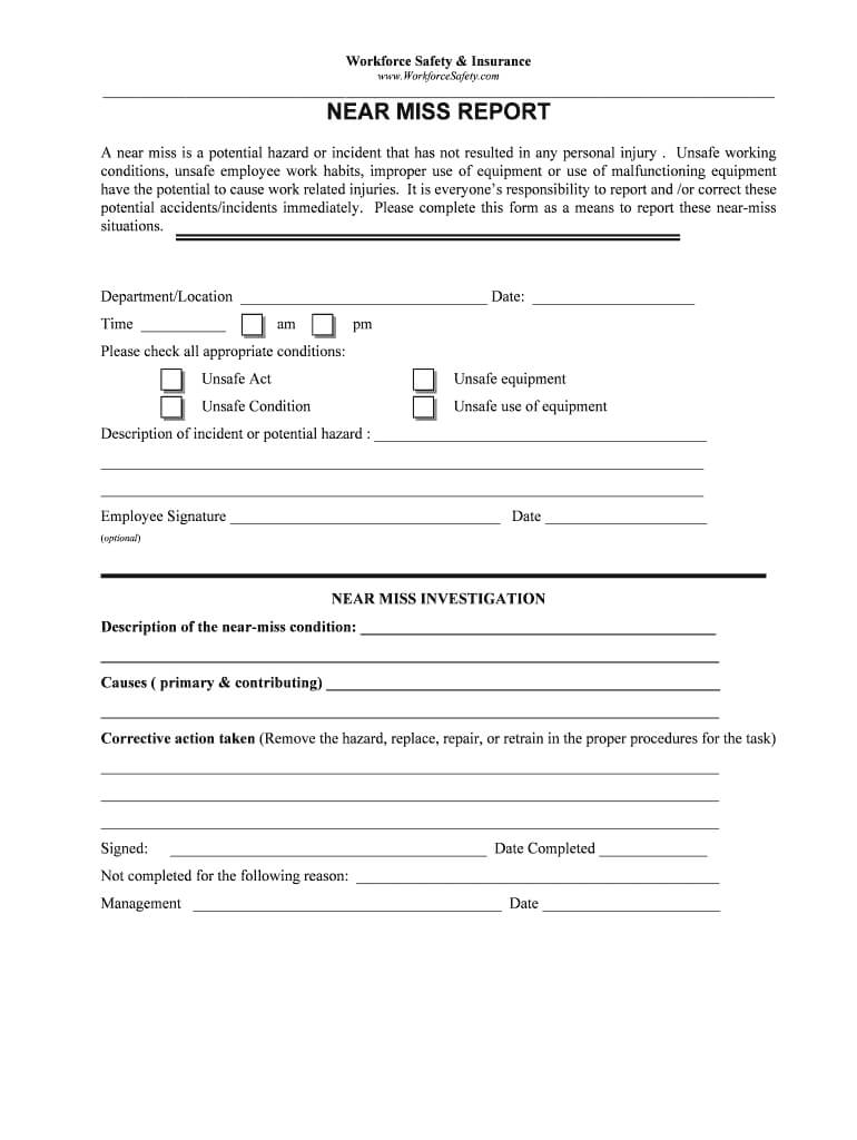 Near Miss Reporting Form – Fill Online, Printable, Fillable Throughout Incident Hazard Report Form Template