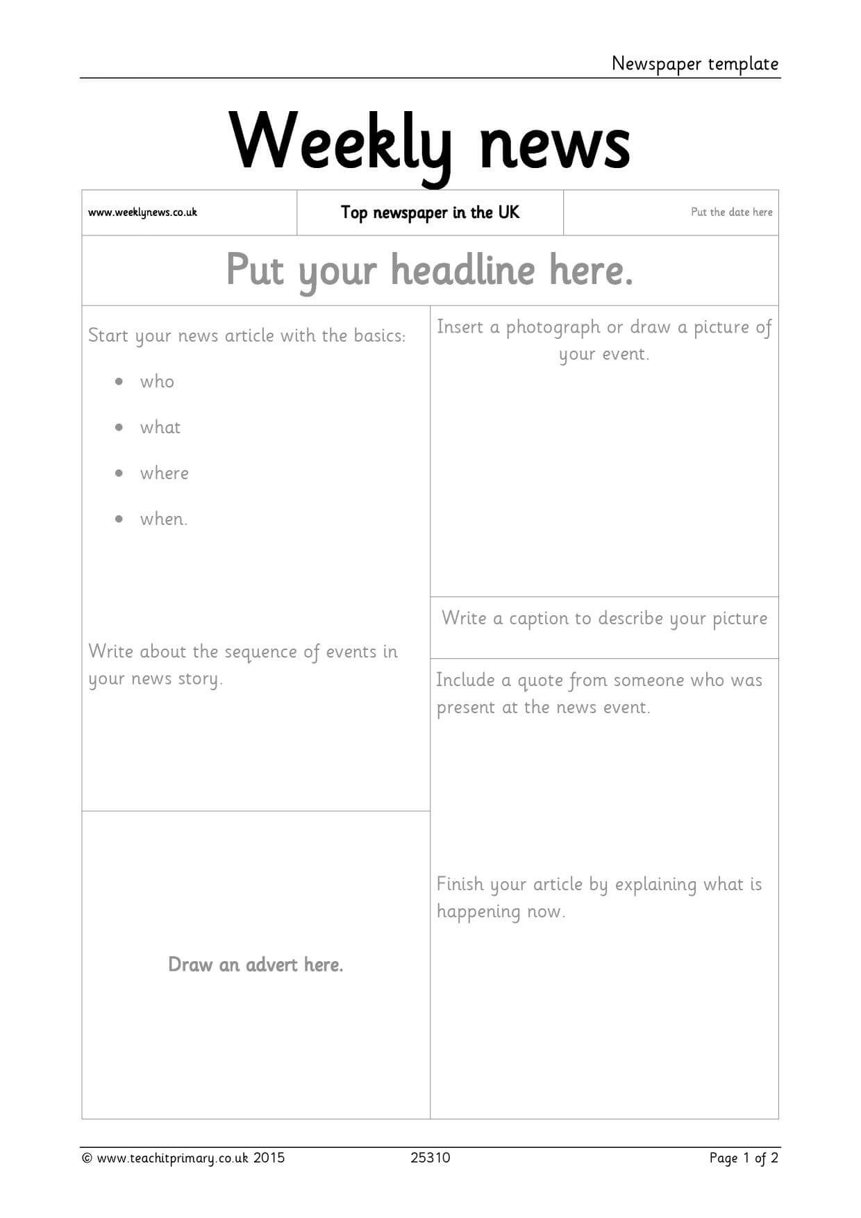 Newspaper Template Throughout Science Report Template Ks2