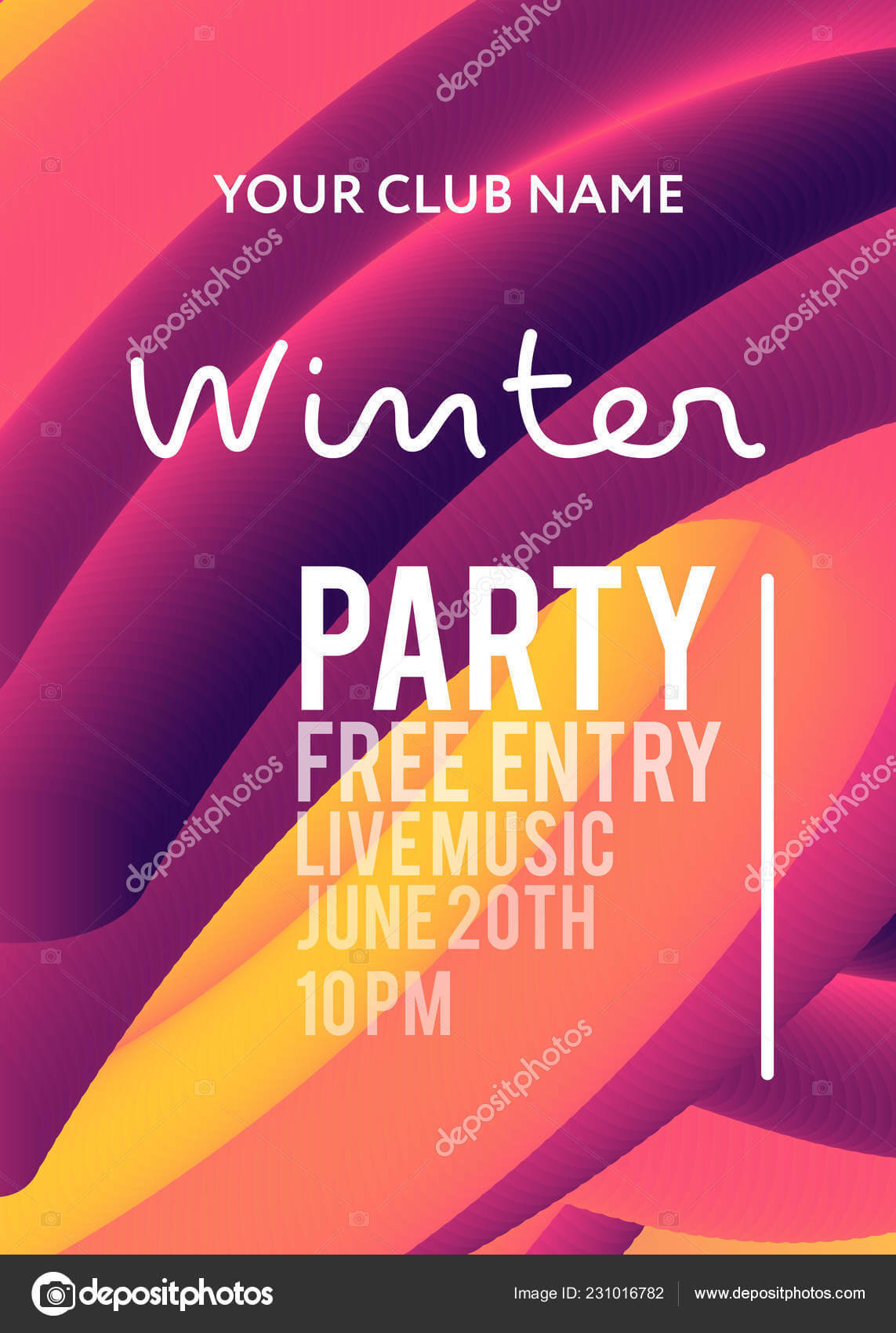 Night Party Banner Template Art Event Promotion Glowing Inside Event Banner Template