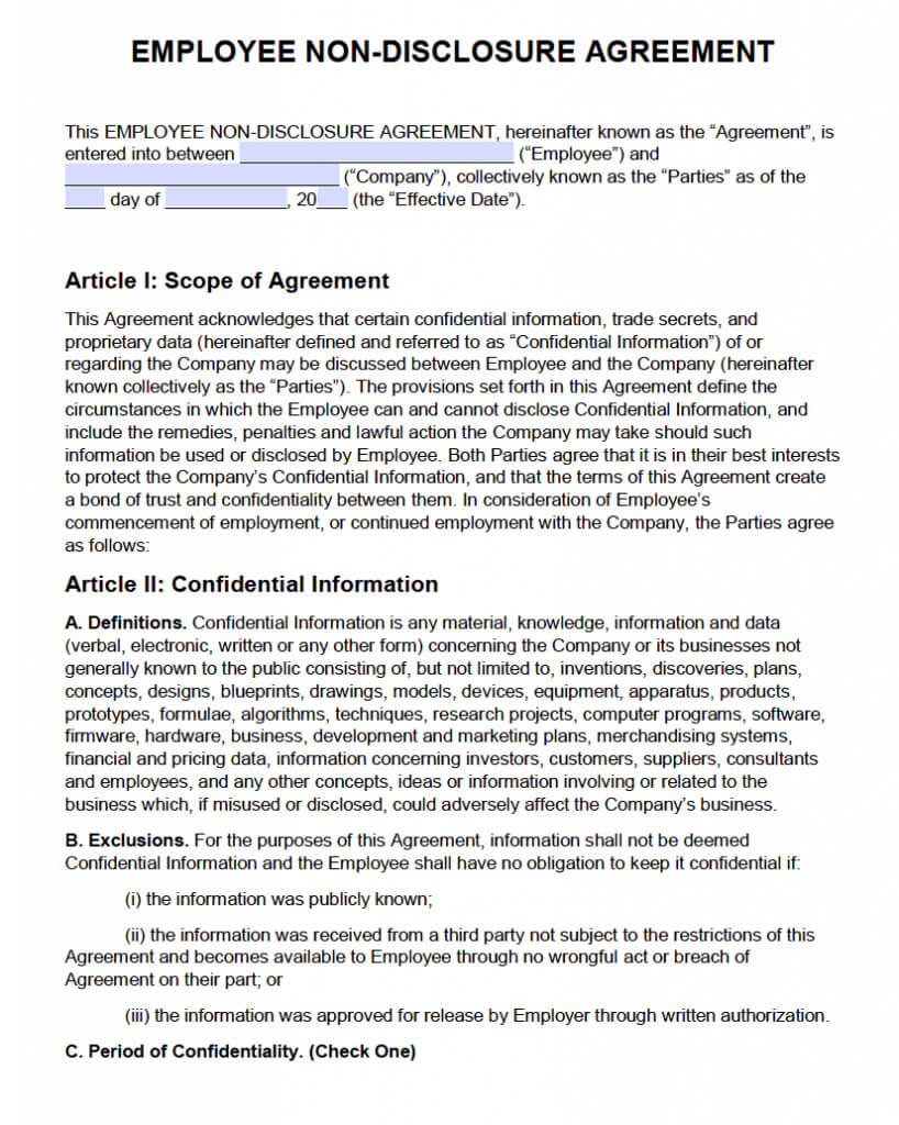 Non Disclosure Agreement (Nda) Template – Sample For Nda Template Word Document