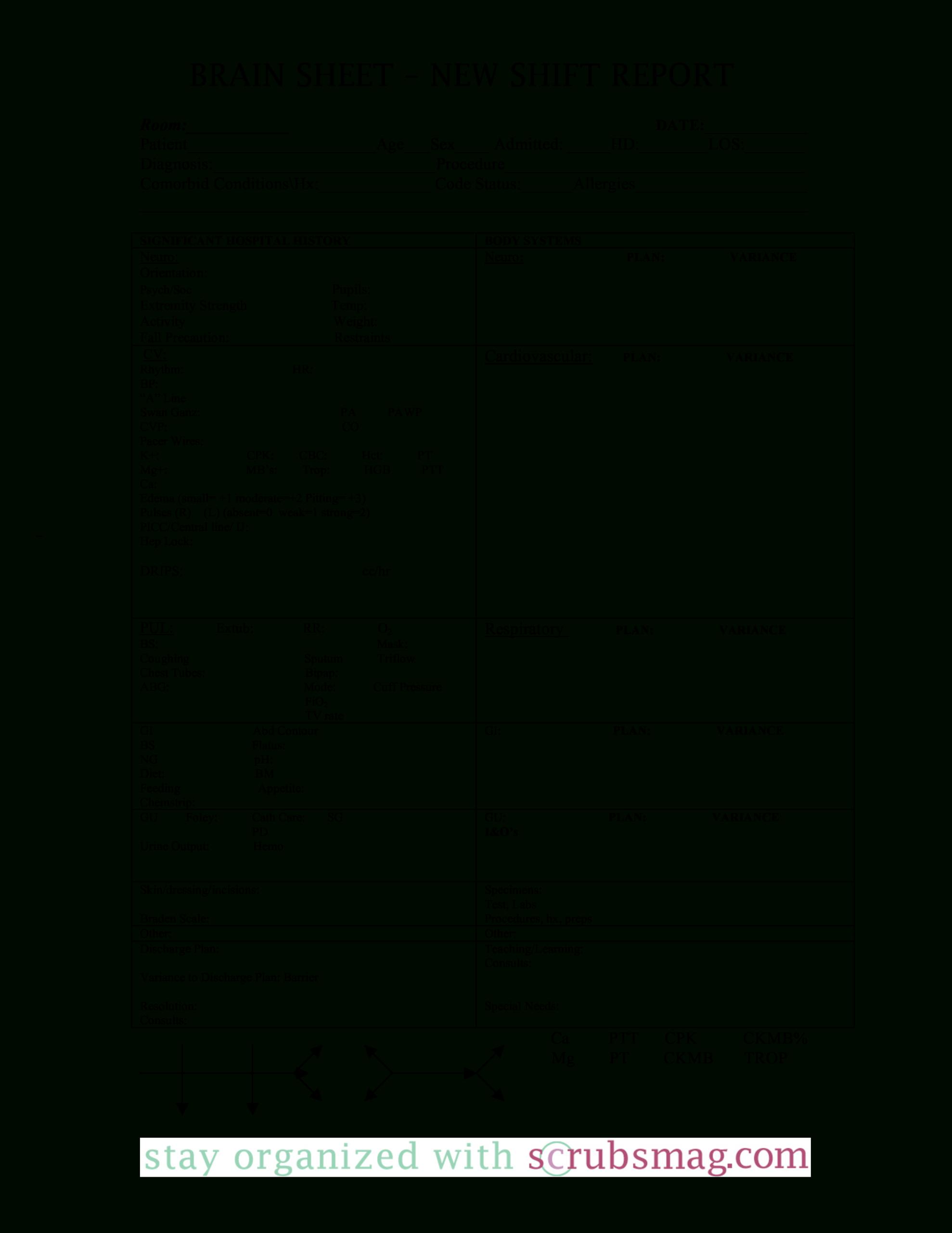 Nursing Brain Report Sheet   Templates At Regarding Nursing Report Sheet Templates