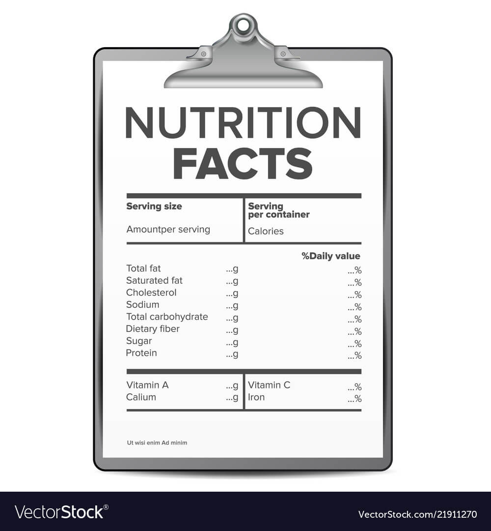 Nutrition Facts Blank Template Diet With Blank Food Label Template