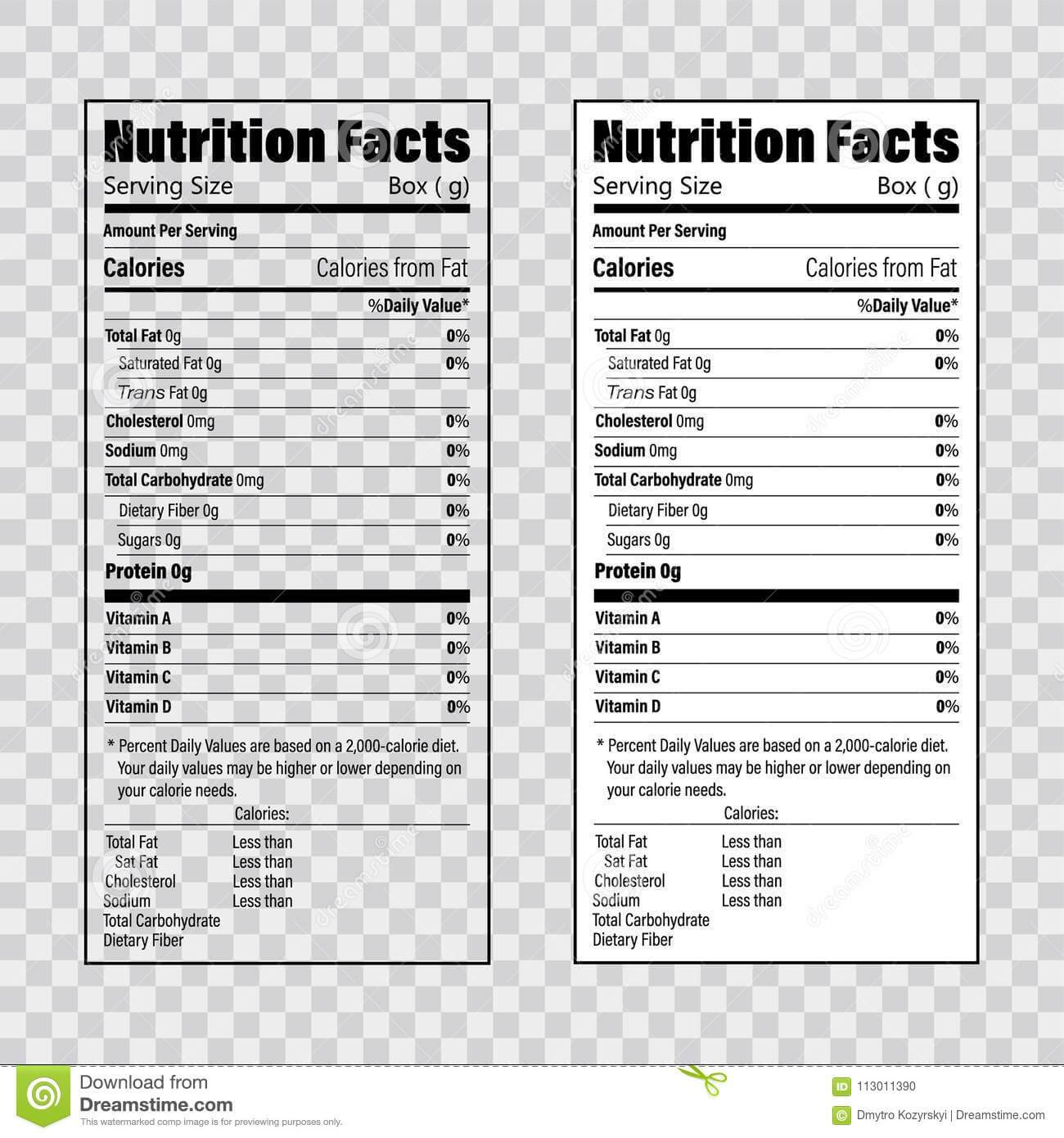 Nutrition Facts Information Label Template. Daily Value Pertaining To Blank Food Label Template