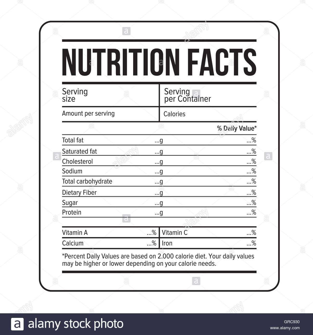 Nutrition Facts Label Template Vector Stock Vector Art Throughout Blank Food Label Template