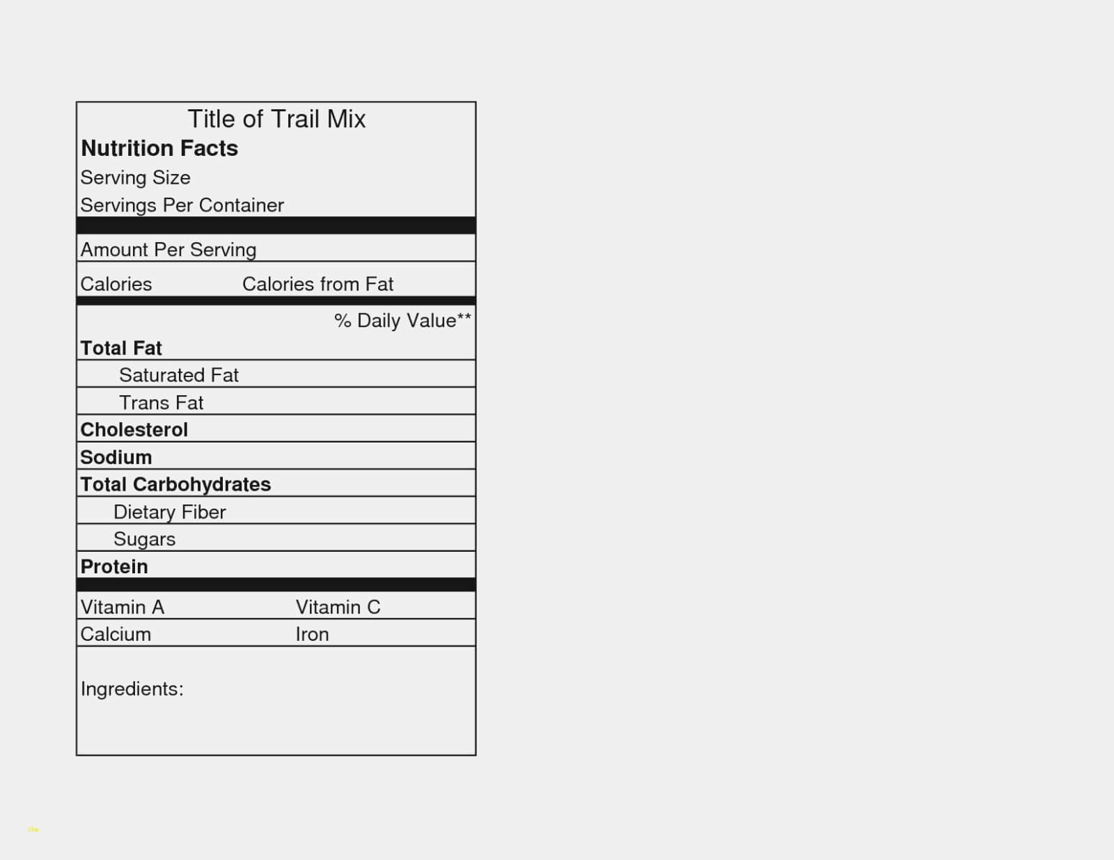 Nutrition News: Blank Nutrition Facts Label Template Inside Blank Food Label Template