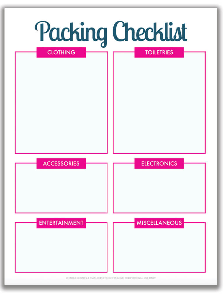 Organized Travel: A Free Printable Packing List For Your Pertaining To Blank Packing List Template