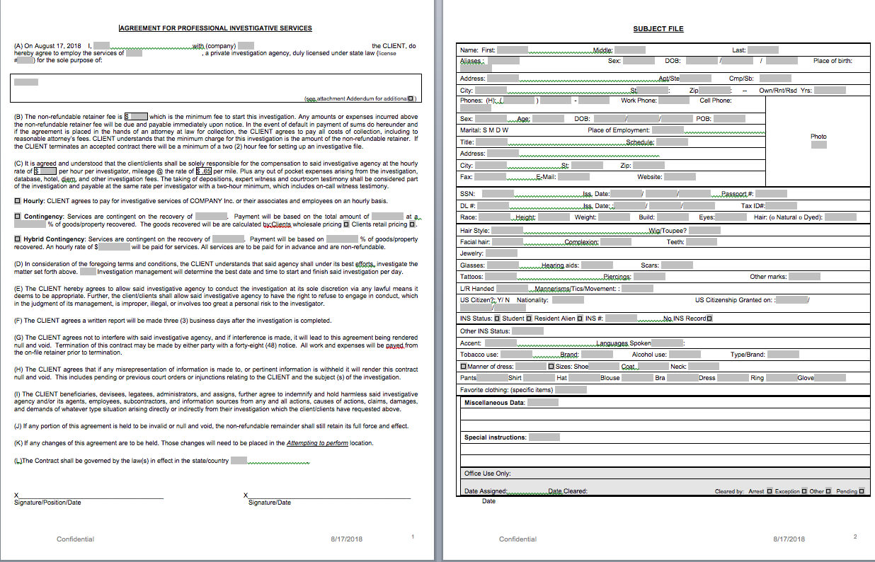 P.i. Forms - Pitraininghq For Private Investigator Surveillance Report Template