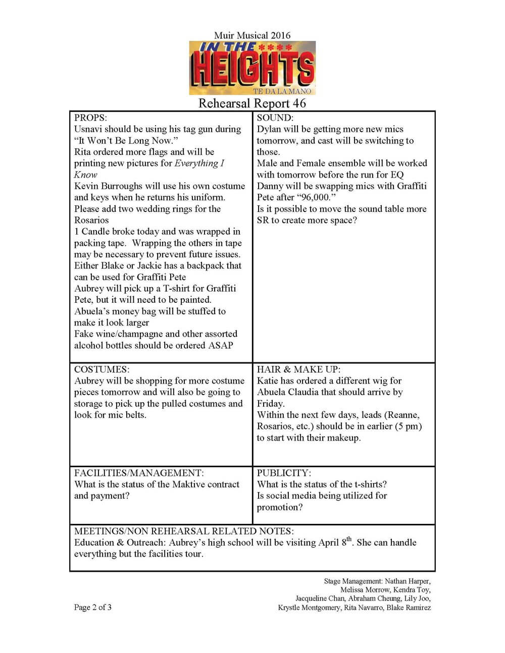 Paperwork Samples — Nathan D Harper Intended For Rehearsal Report Template