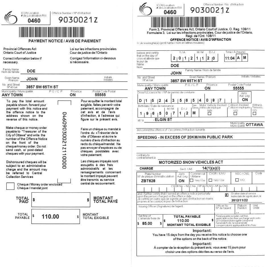 Parking And Provincial Offences Act Tickets | City Of Ottawa Throughout Blank Speeding Ticket Template
