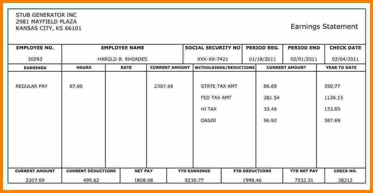 Pay Stub Free – Colona.rsd7 In Blank Pay Stub Template Word
