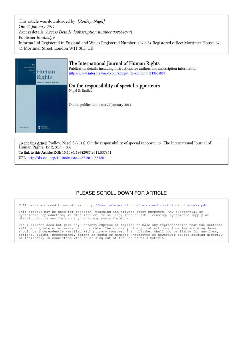 Pdf) On The Responsibility Of Special Rapporteurs With Regard To Rapporteur Report Template