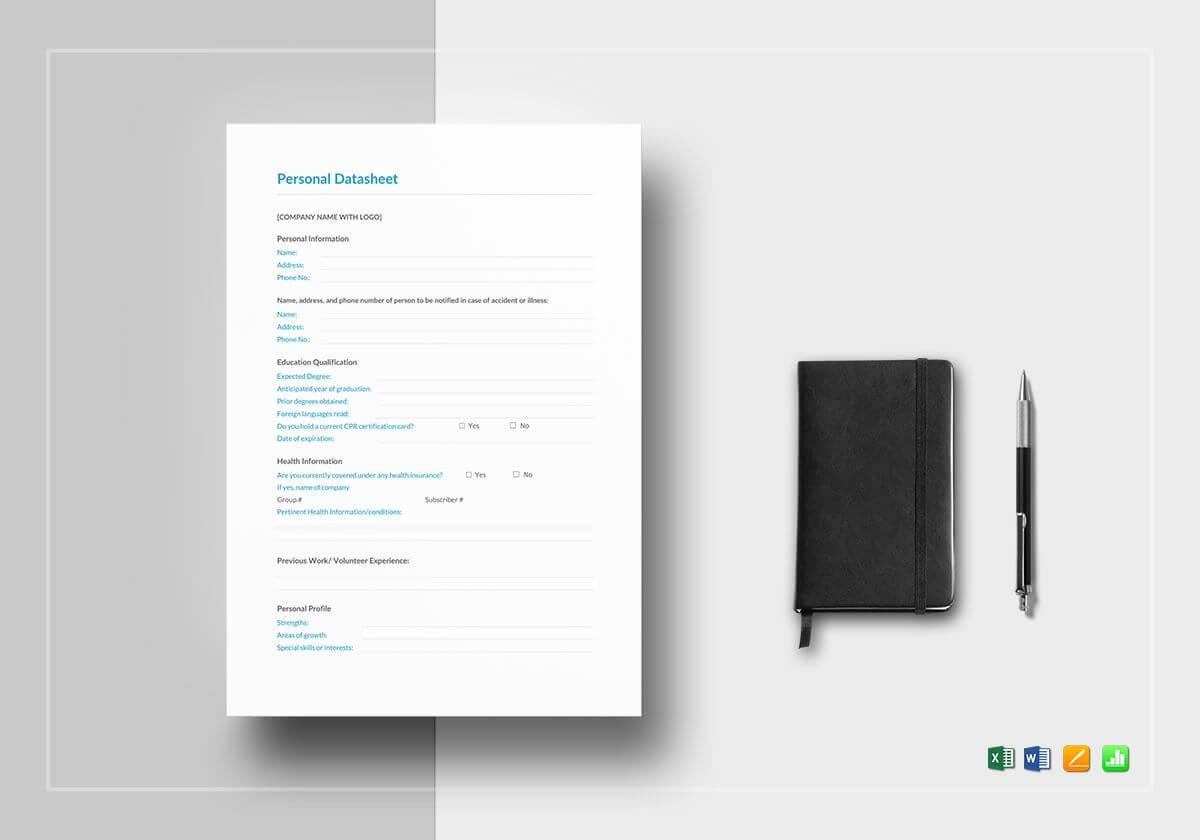 Personal Datasheet Template With Datasheet Template Word
