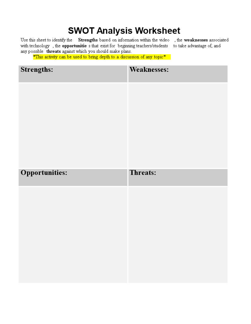 Personal Swot Analysis Worksheet Word   Templates At Pertaining To Swot Template For Word