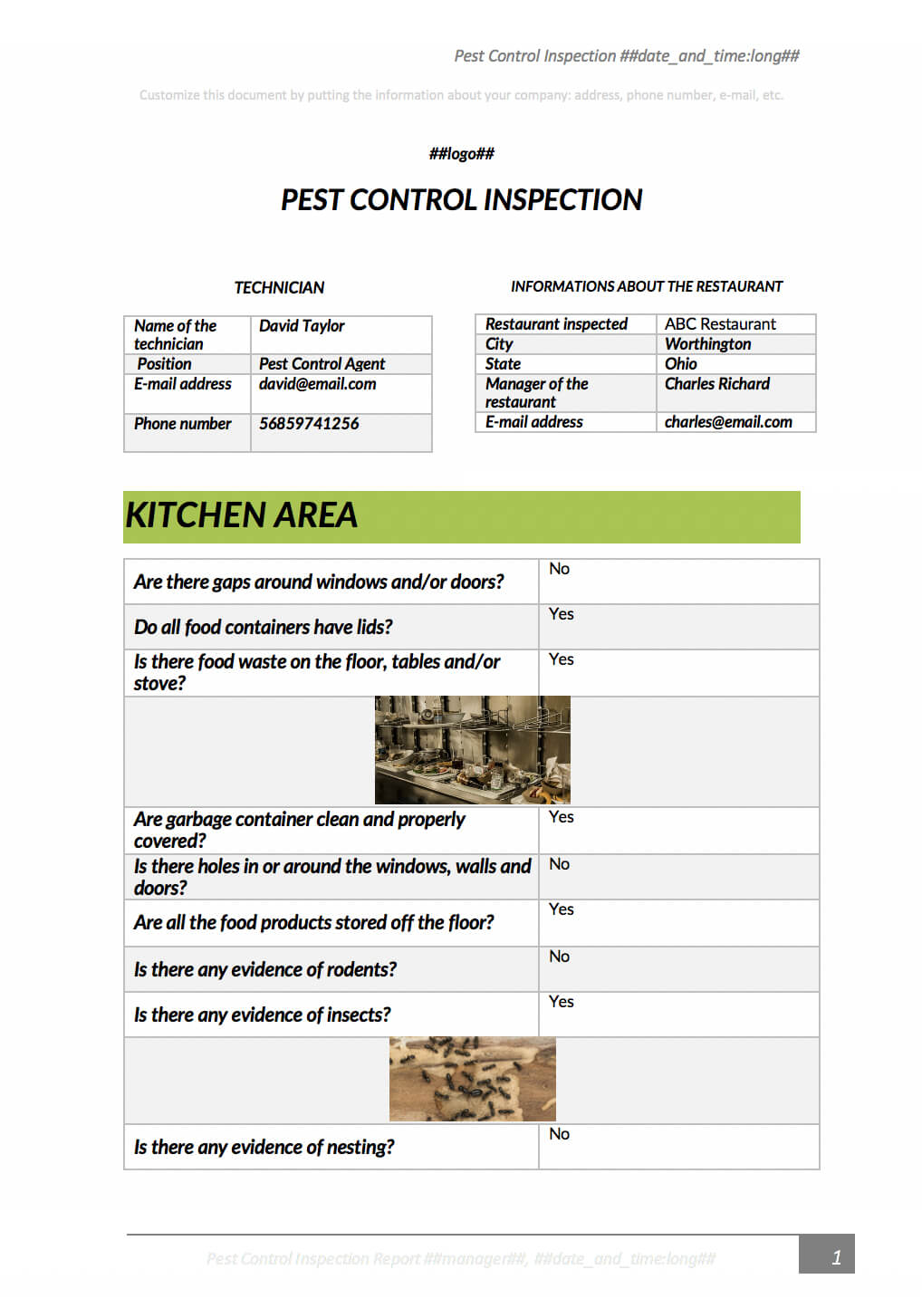 Pest Control Inspection With Kizeo Forms From Your Cellphone Throughout Pest Control Inspection Report Template