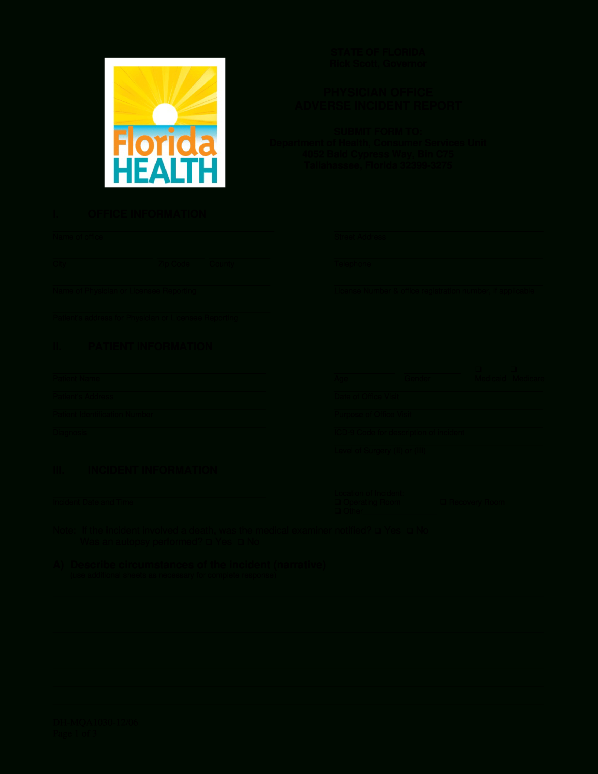 Physician Office Incident Report | Templates At Within Blank Autopsy Report Template