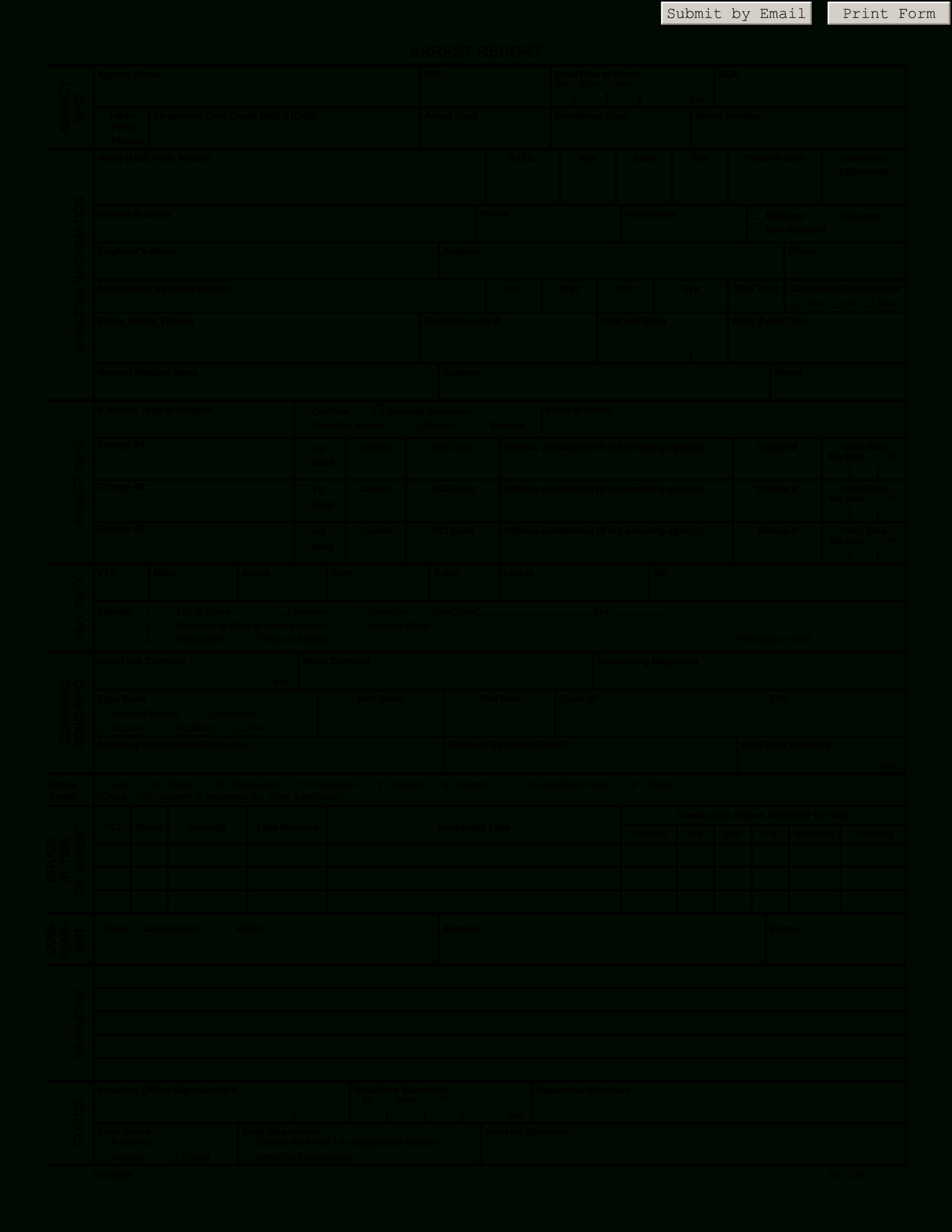 Police Arrest Report   Templates At Allbusinesstemplates Pertaining To Police Report Template Pdf