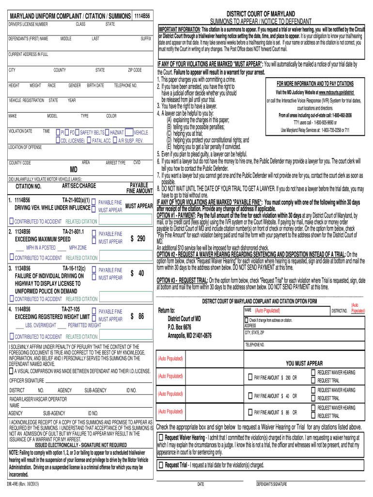 Police Citation Template – Fill Online, Printable, Fillable Inside Blank Speeding Ticket Template