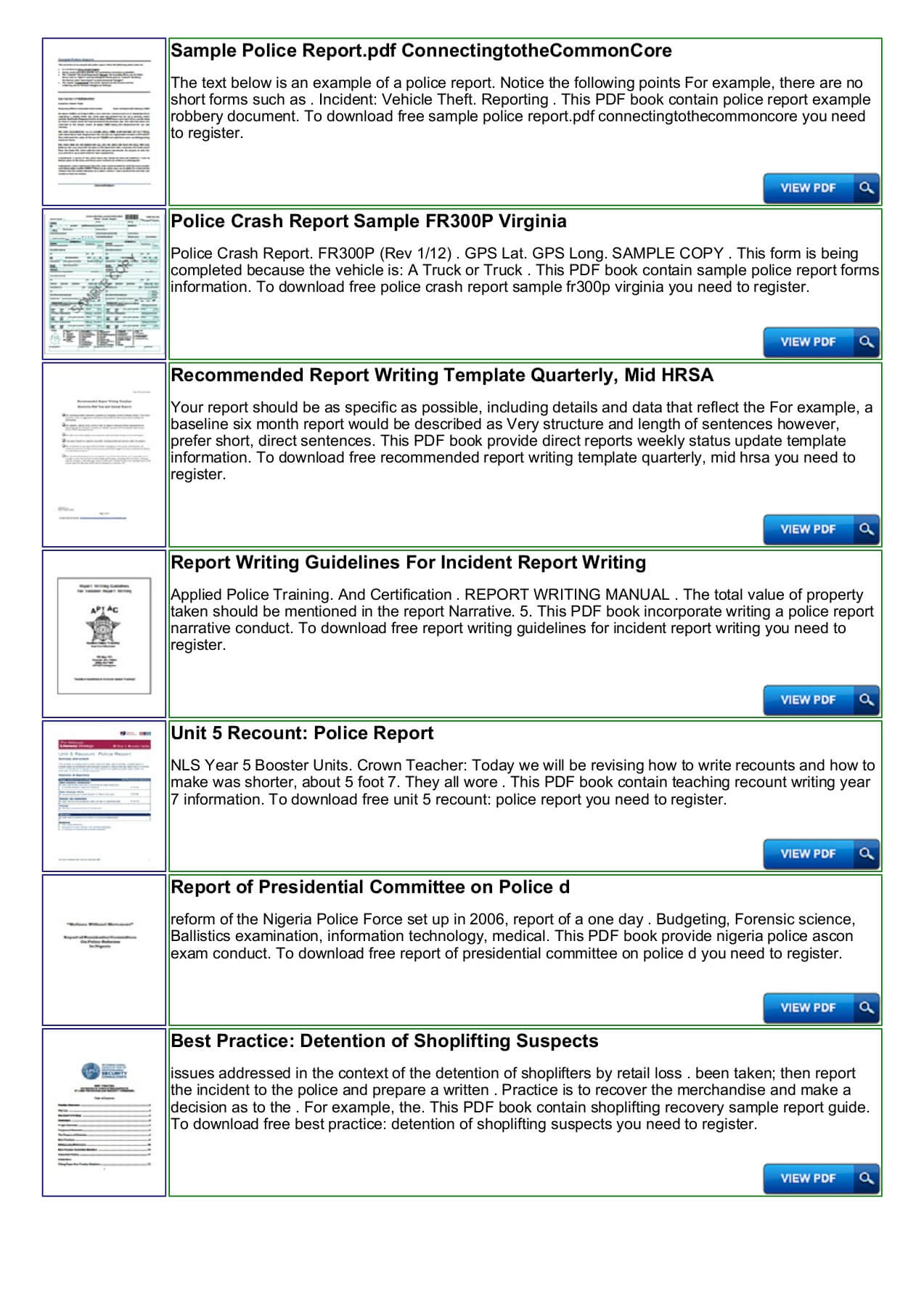 Police Shoplifting Report Writing Template Sample Pages 1 In Police Report Template Pdf