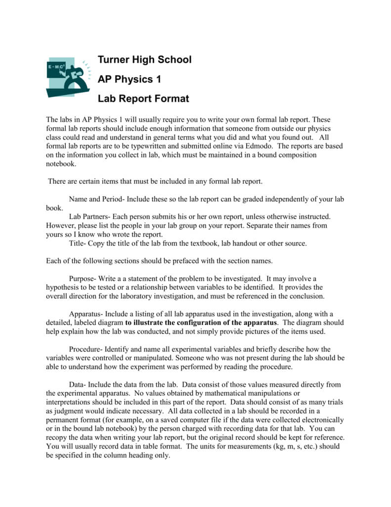 Pre Ap Physics Lab Report Format Inside Physics Lab Report Template