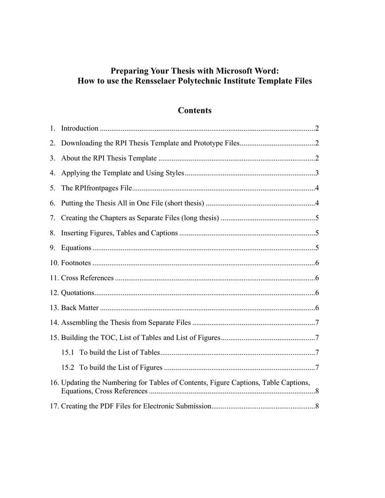Preparing Your Thesis With Microsoft Word: | Manualzz With Ms Word Thesis Template