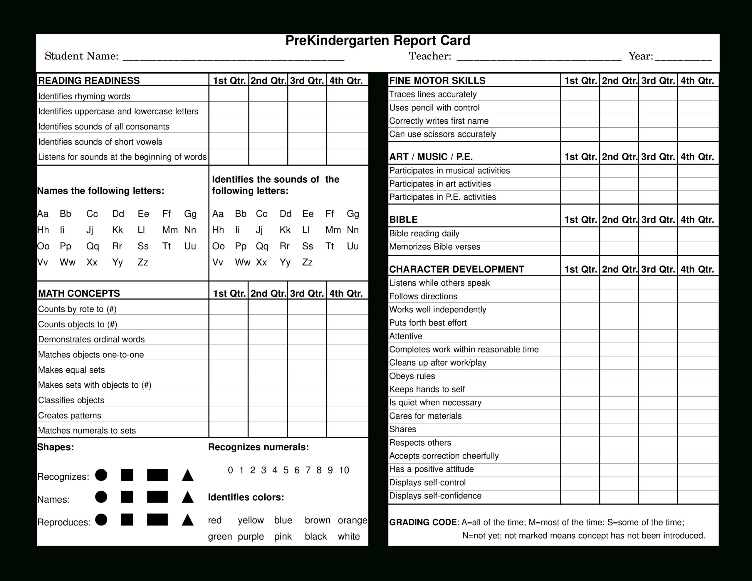Preschool Report Card   Templates At Allbusinesstemplates Within Report Card Template Pdf