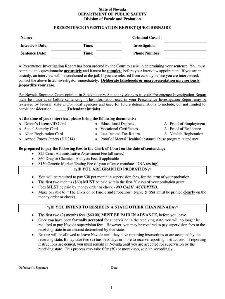 Presentence Investigation - Fill Online, Printable, Fillable With Regard To Presentence Investigation Report Template