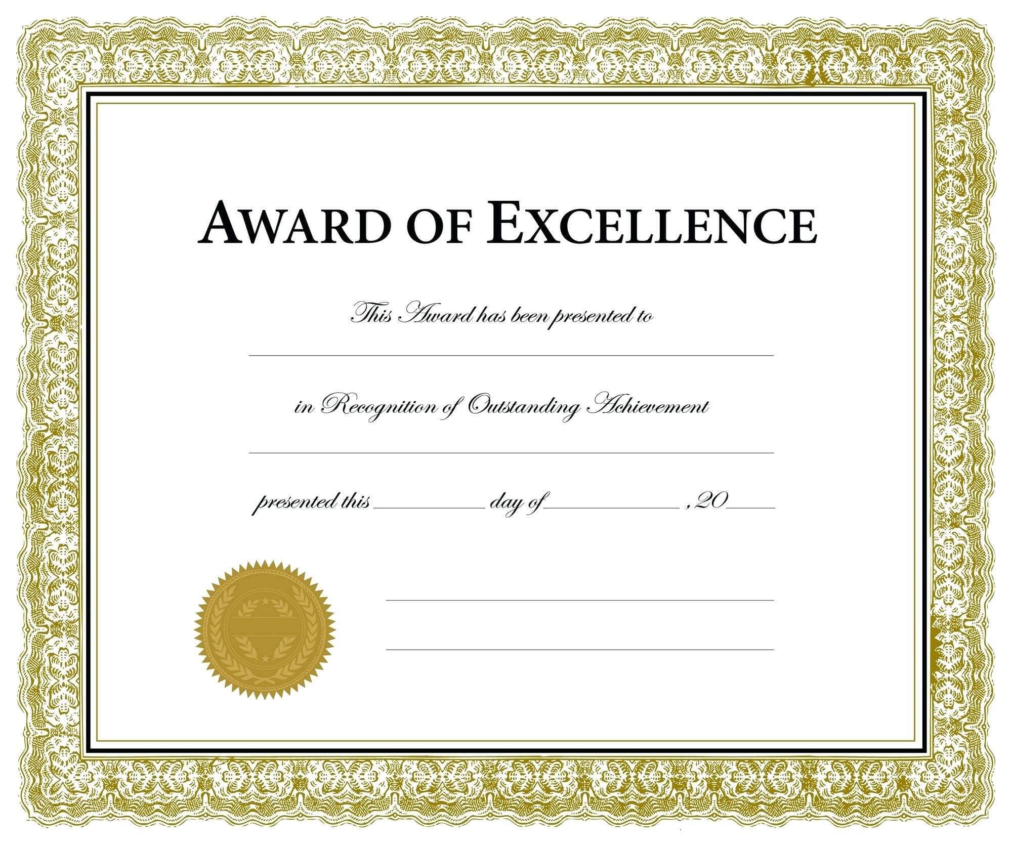 Printable Award Templates - Colona.rsd7 For Blank Award Certificate Templates Word