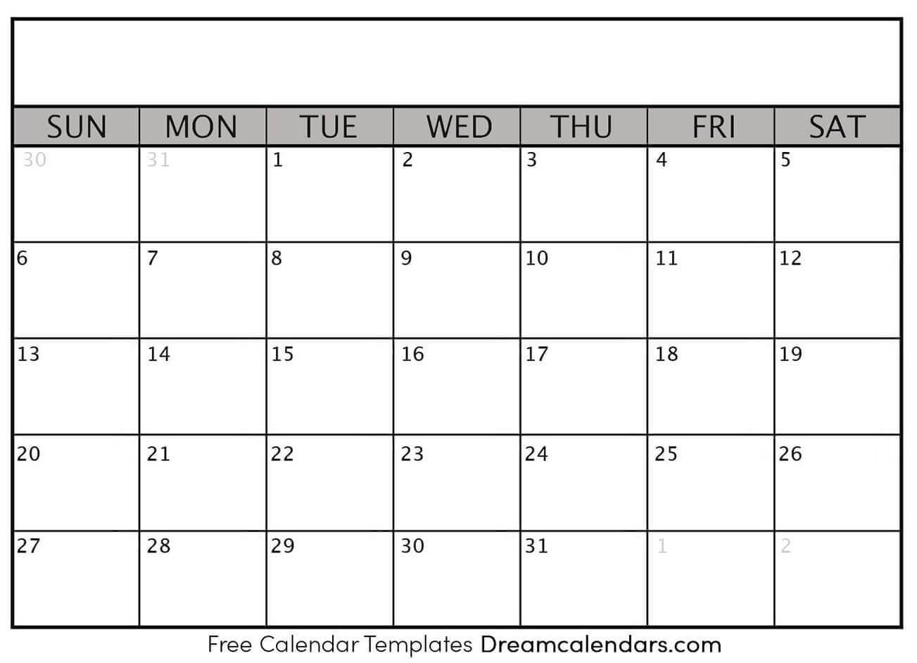 Printable Blank Calendar 2020 | Dream Calendars With Regard To Blank One Month Calendar Template