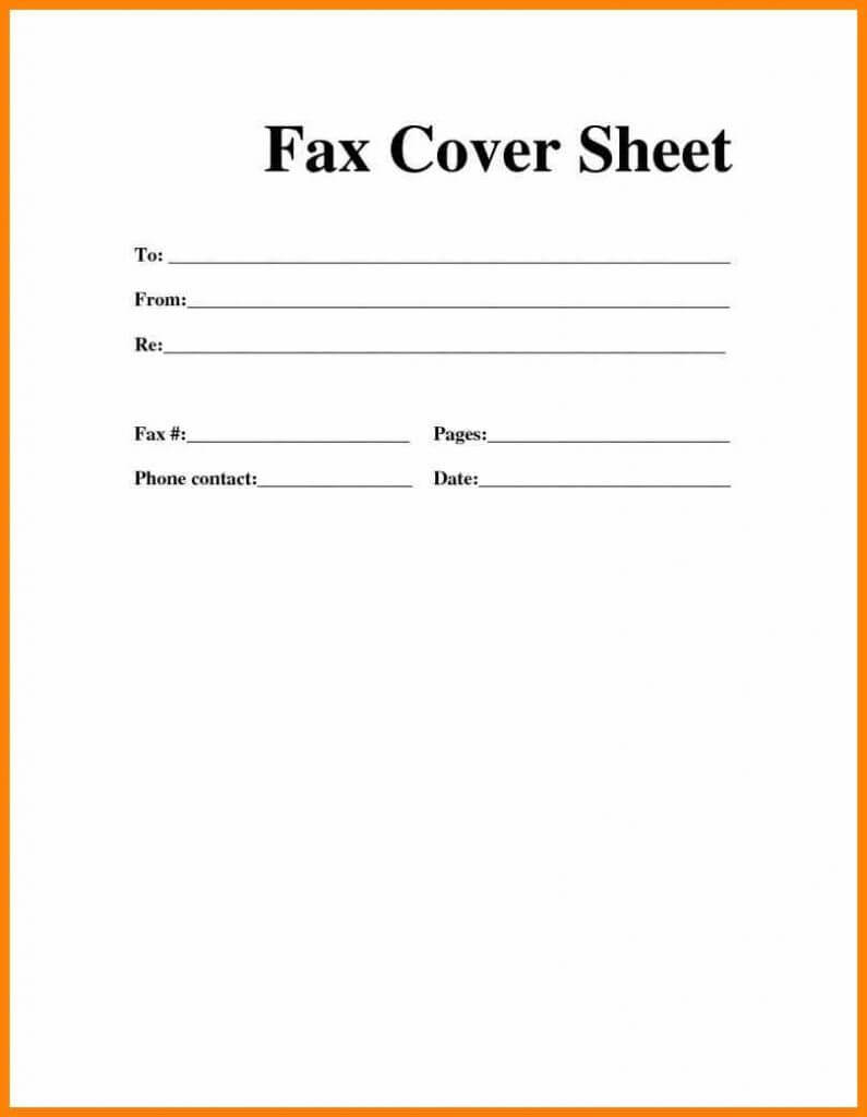 Printable Blank Microsoft Word Fax Cover Sheet With Fax Template Word 2010