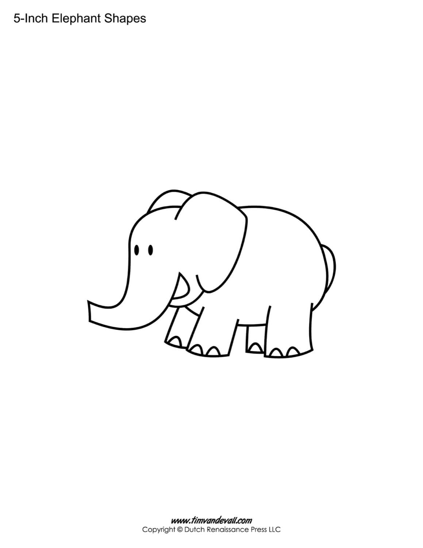 Printable Elephant Templates / Elephant Shapes For Kids Within Blank Elephant Template