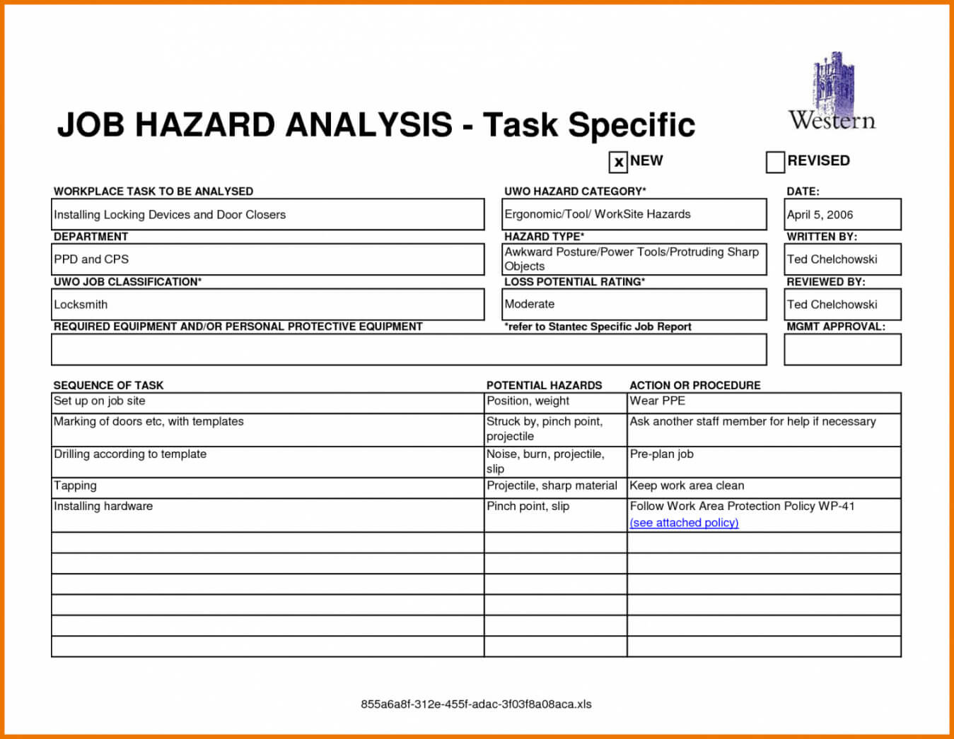 Printable Free Job Safety Analysis Form Free Printable Pertaining To Safety Analysis Report Template