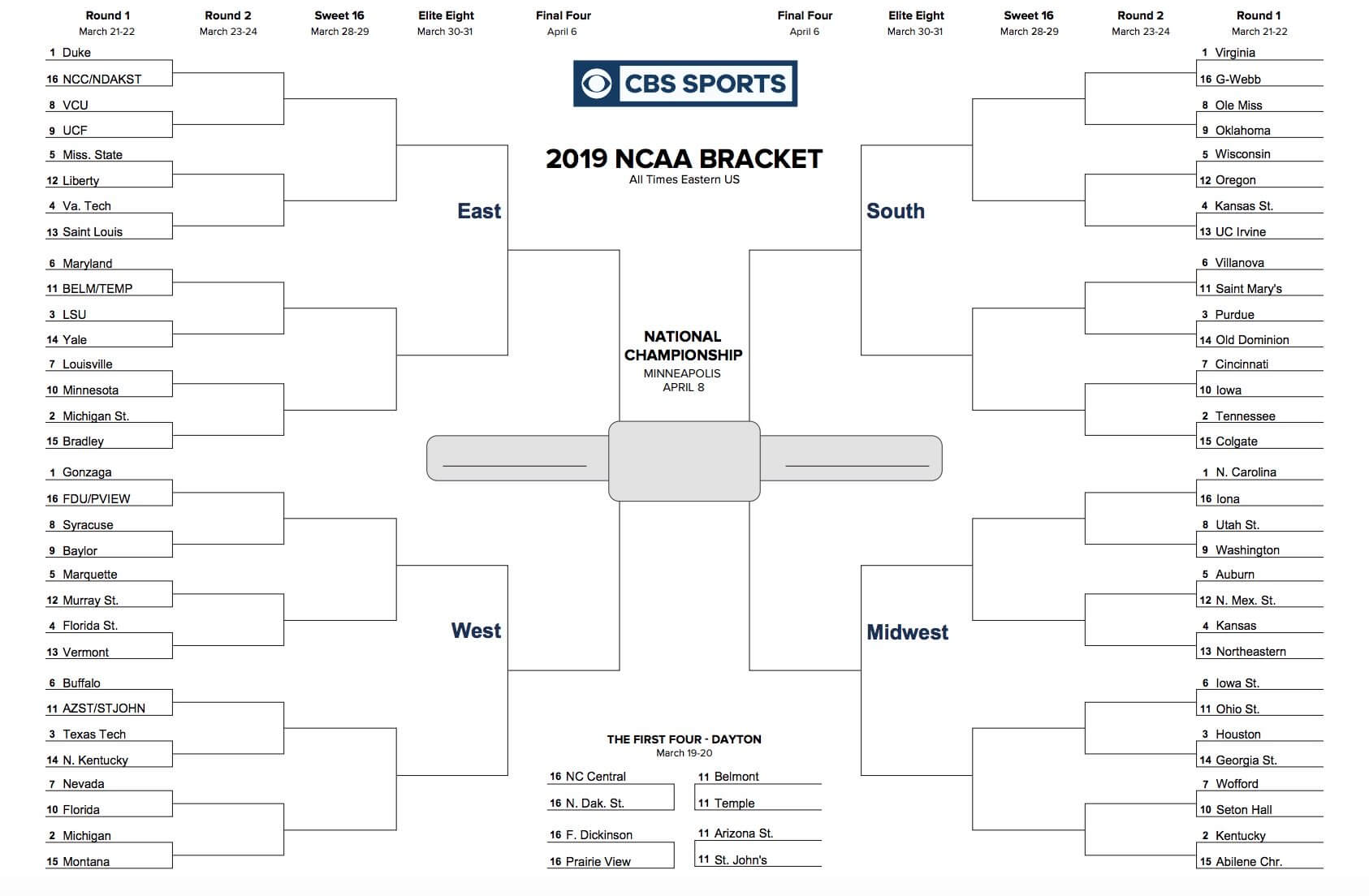Printable Ncaa Tournament Bracket For March Madness 2019 Throughout Blank Ncaa Bracket Template