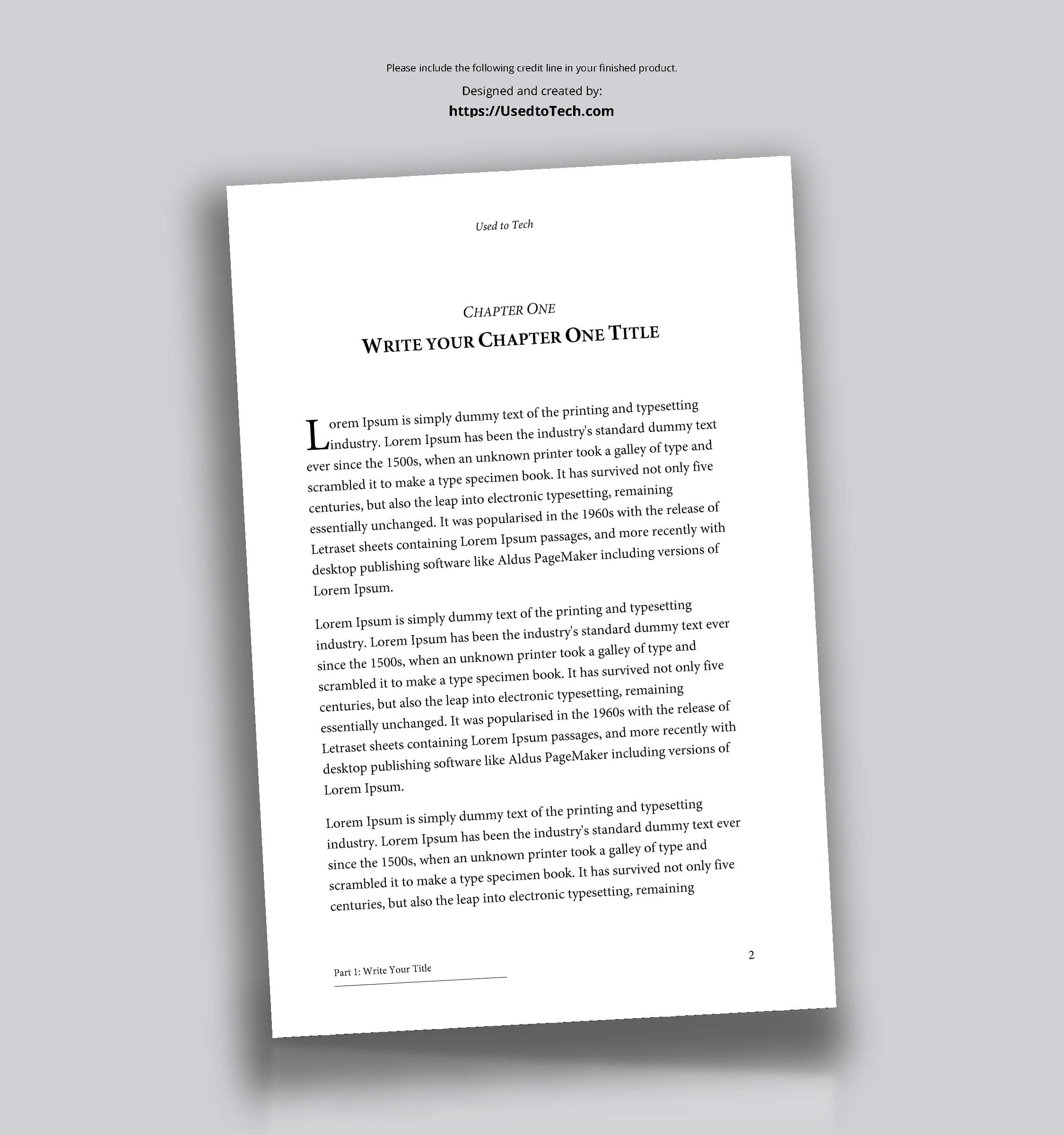 Professional Looking Book Template For Word, Free - Used To Tech In How To Create A Book Template In Word