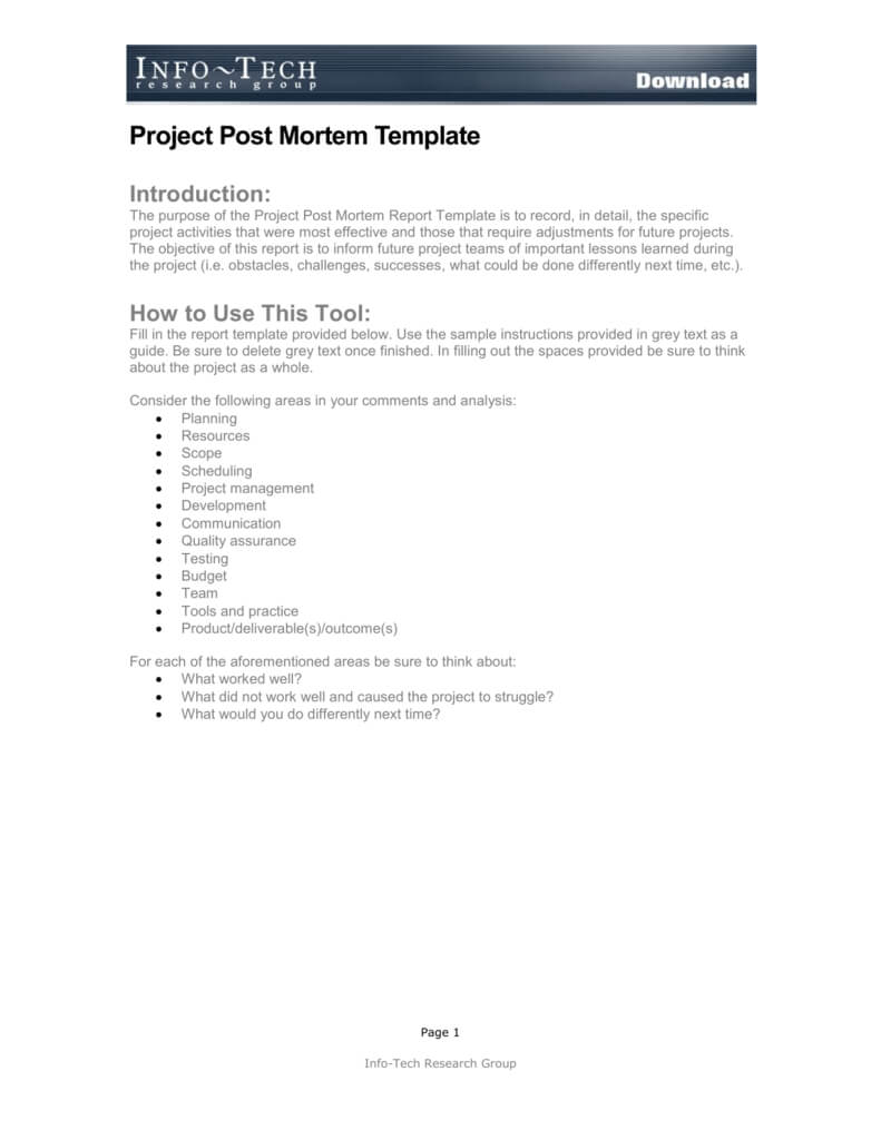 Project Post Mortem Template Throughout Project Analysis Report Template