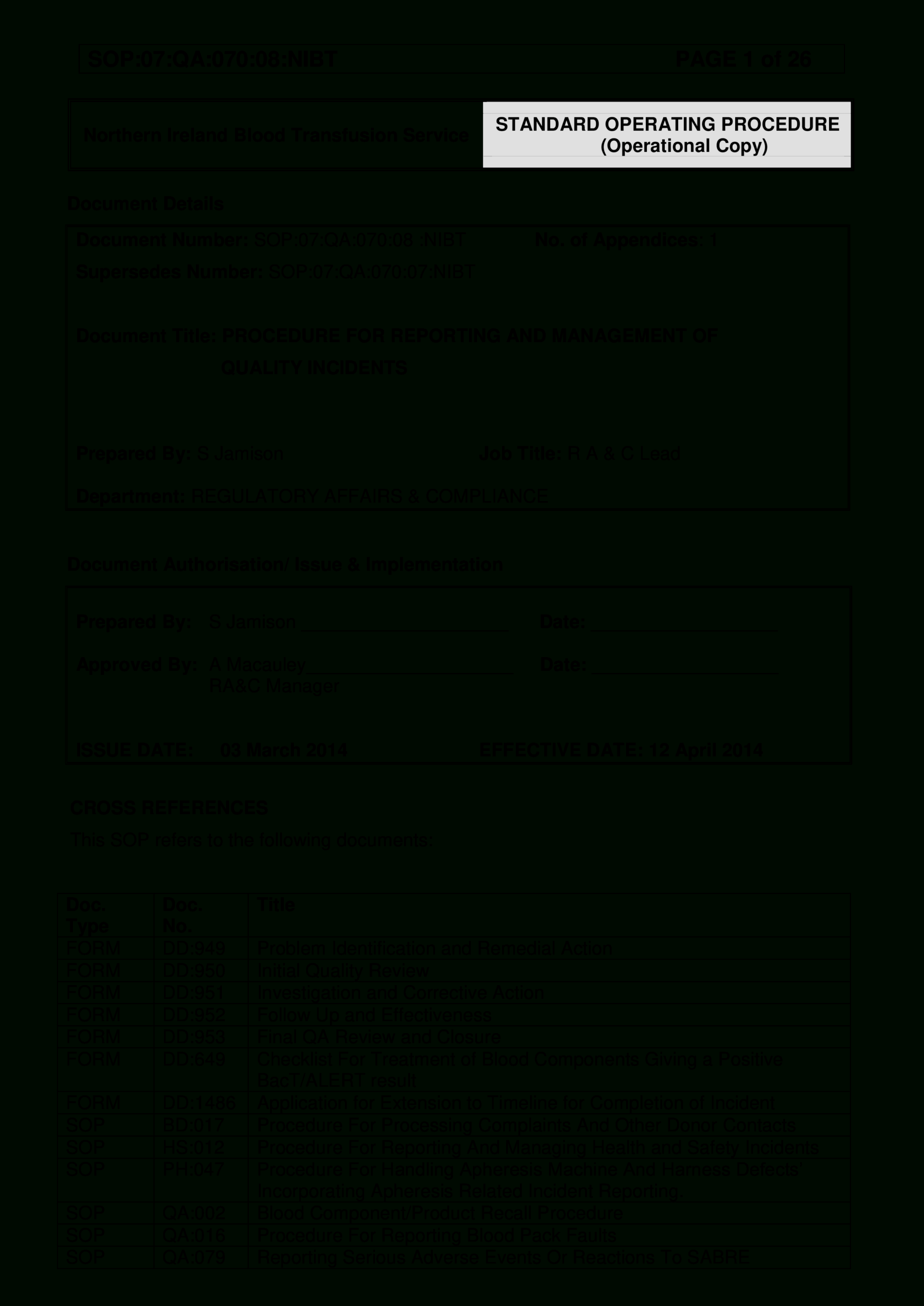 Quality Incident Report Format | Templates At For Incident Report Form Template Doc