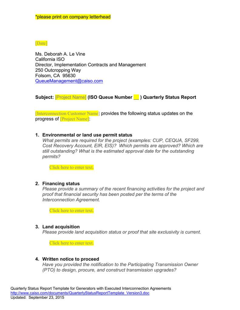 Queue Management Quarterly Status Report Template With Quarterly Status Report Template