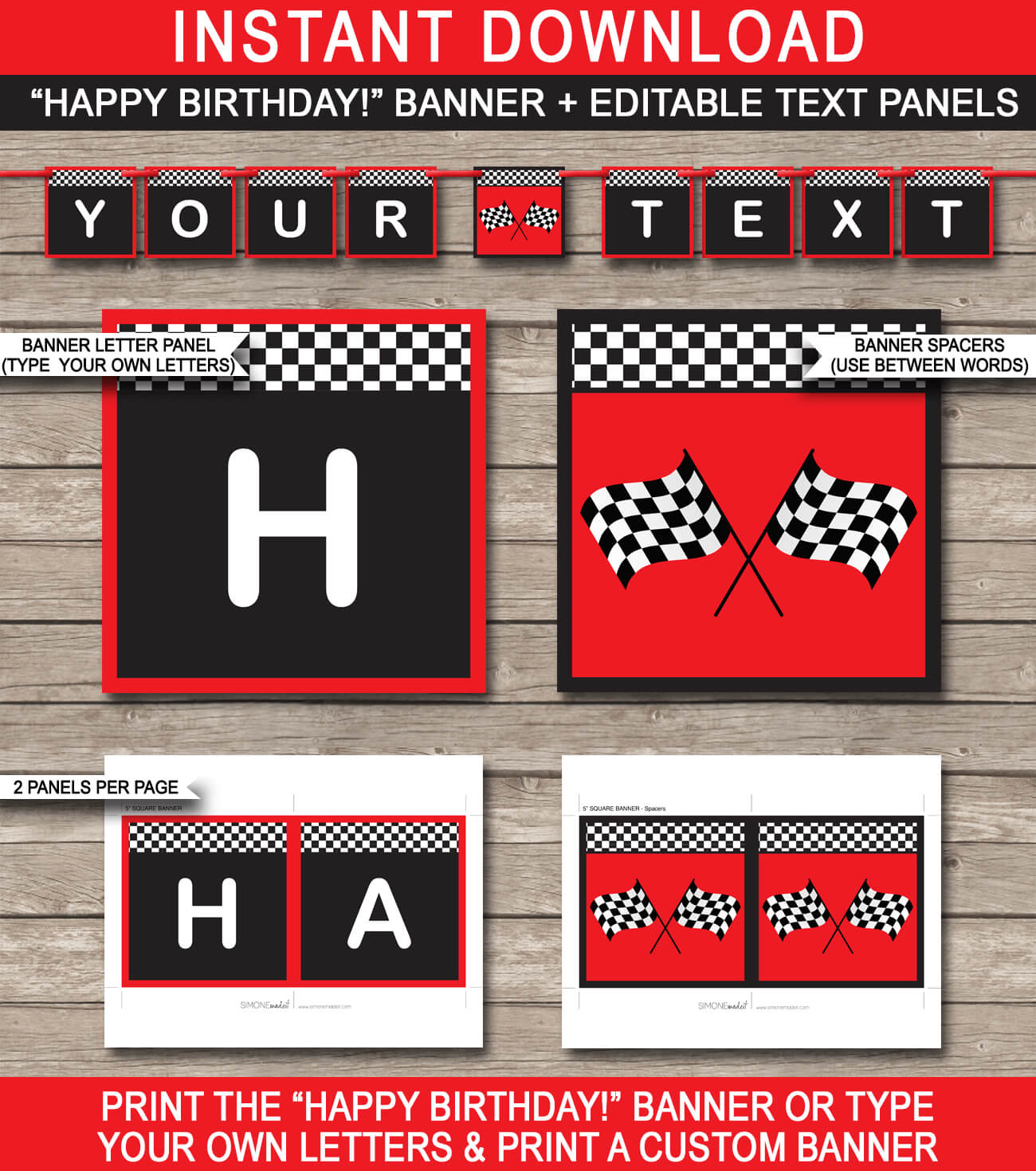 Race Car Party Banner Template – Red Inside Cars Birthday Banner Template