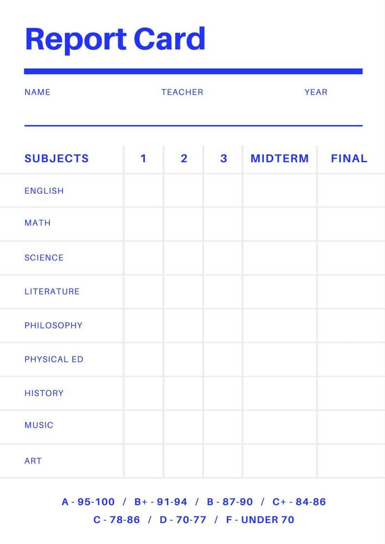 Report Card Template Free Online Maker Design A Custom Regarding Blank Report Card Template