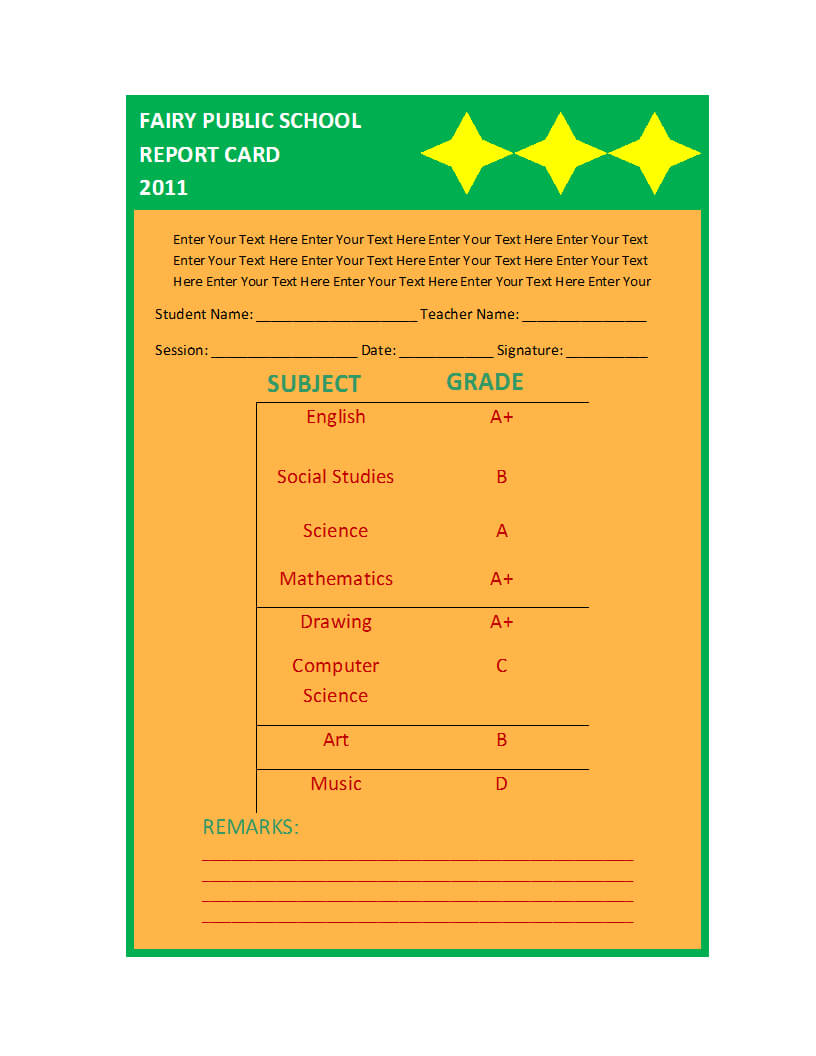 Report Card Template With Report Card Format Template